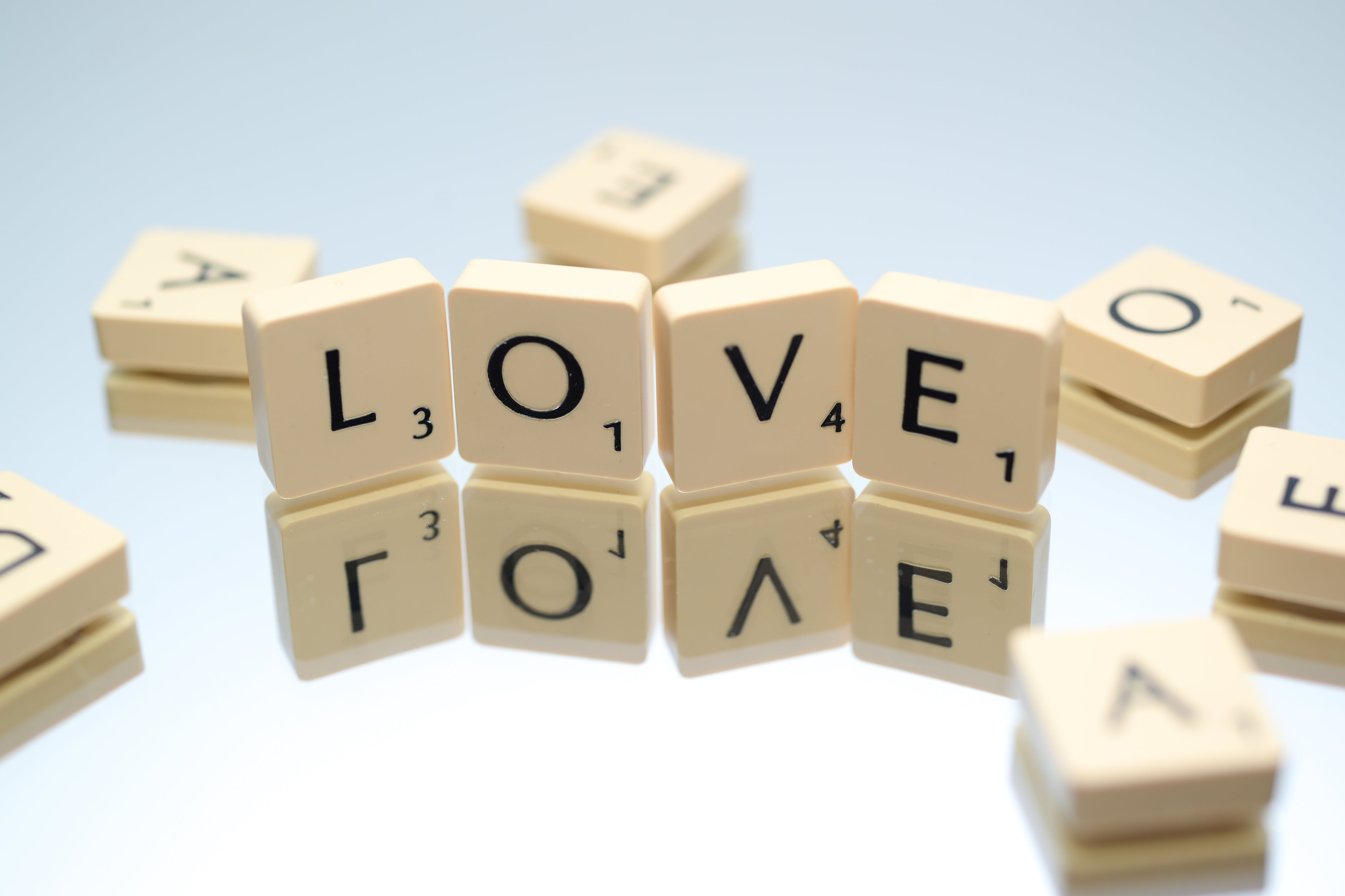 Scrabble Letters Form Love