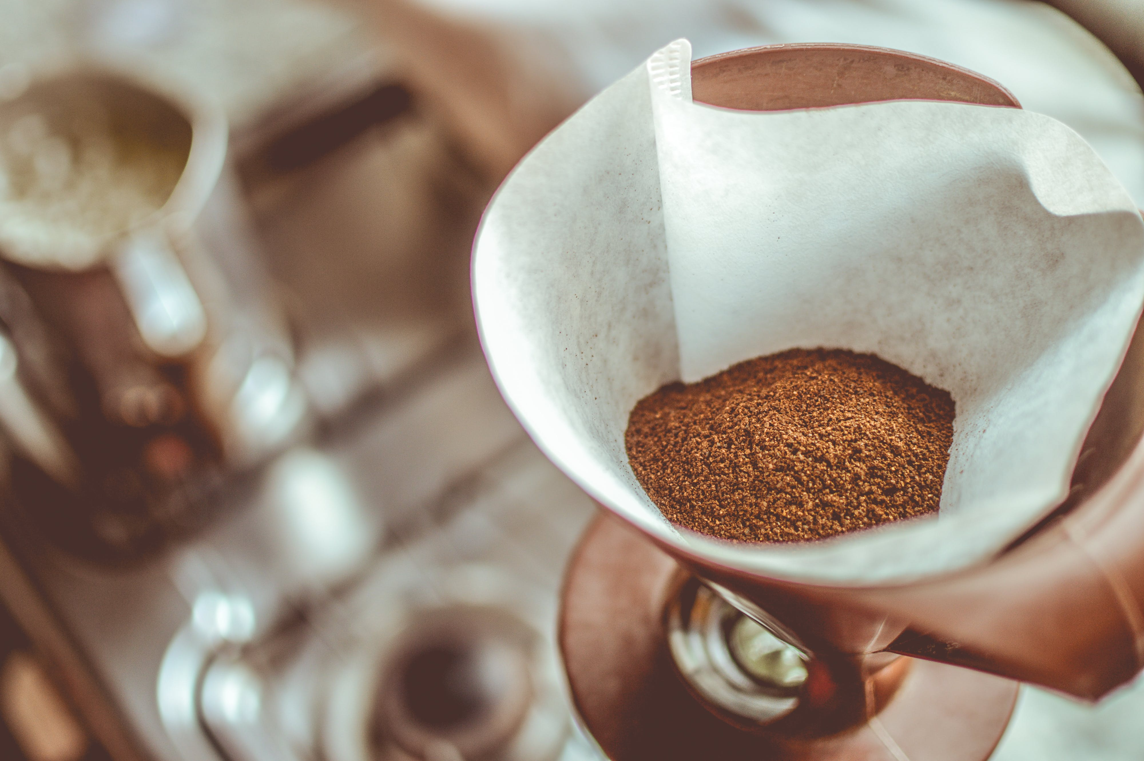 Brown Coffee on White Strainer