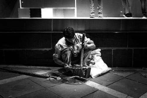 Free stock photo of homeless, street musician