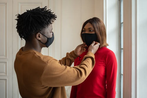 Black couple in protective masks