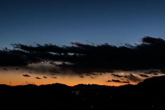 Free stock photo of mountains, nature, sunset, dusk