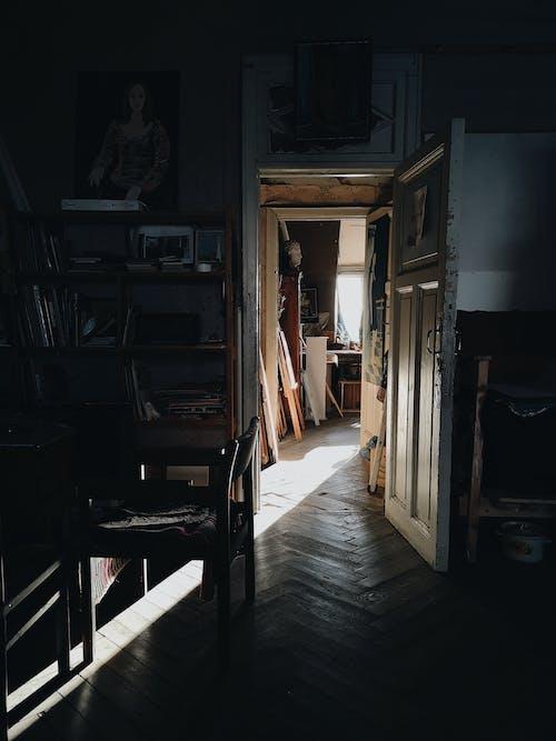 Interior of studio with door