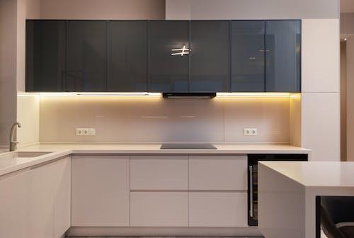 Modern furniture in spacious minimalist kitchen