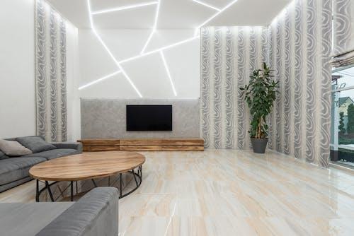 Interior of contemporary spacious living room