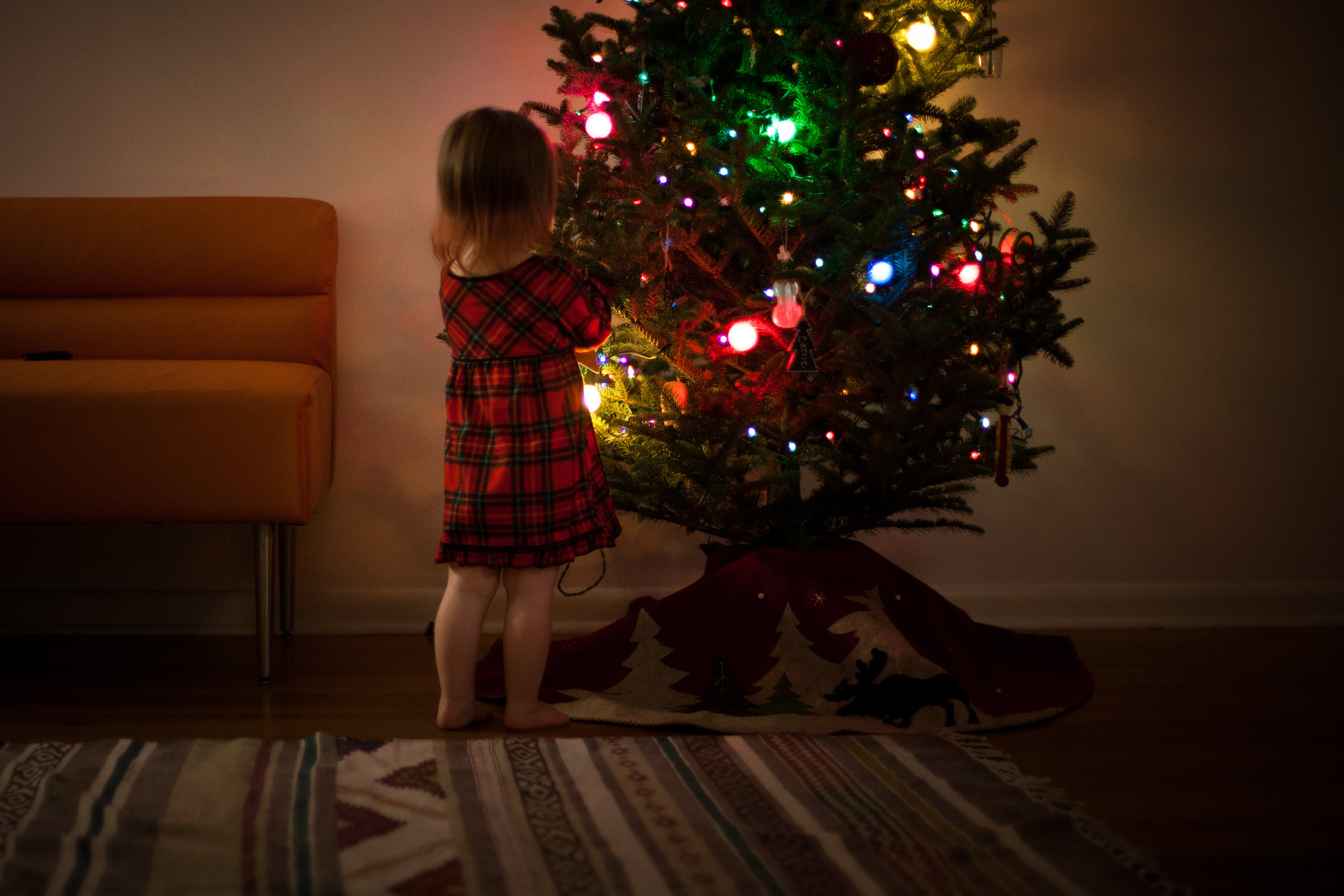 Girl in Red and Black Dress Standing in Front of Christmas Tree Inside Room