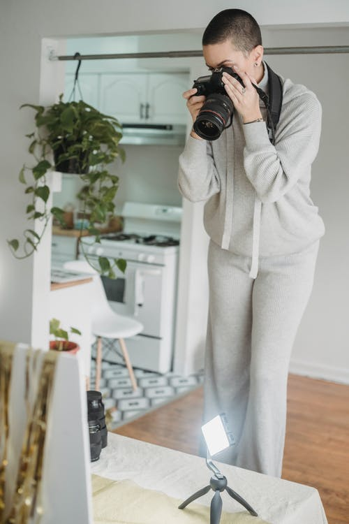 Photographer taking photo in residential apartment