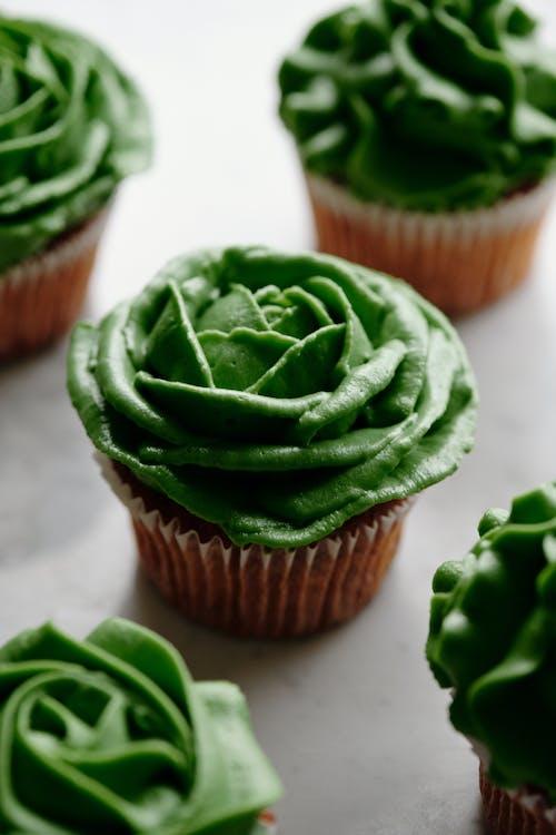 Green Cupcake on Brown Cupcake Holder