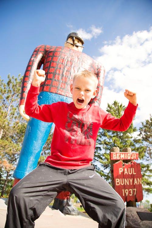 Free stock photo of boy, logging, paul bunyan
