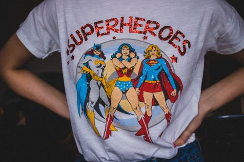 Person Wearing Superheroes Printed T-shirt