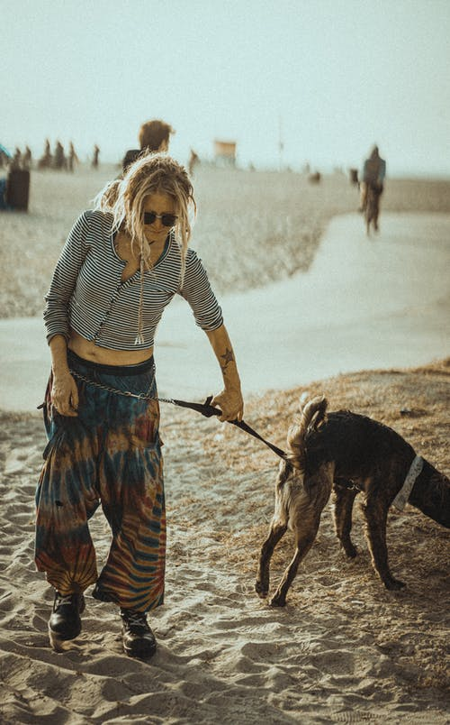 Informal woman walking dog on sandy beach