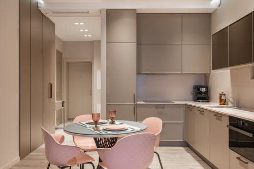 Contemporary kitchen interior with dining zone