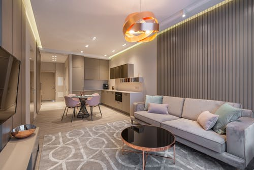 Contemporary apartment with kitchen and stylish living zone