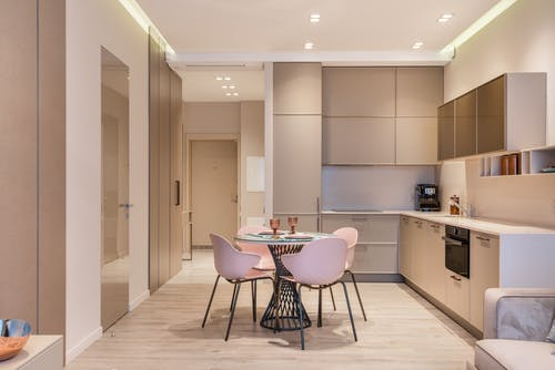 Stylish kitchen interior and set dining table