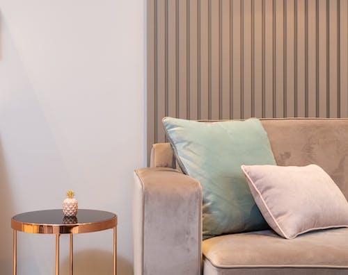 Gray Sofa Chair With Throw Pillows