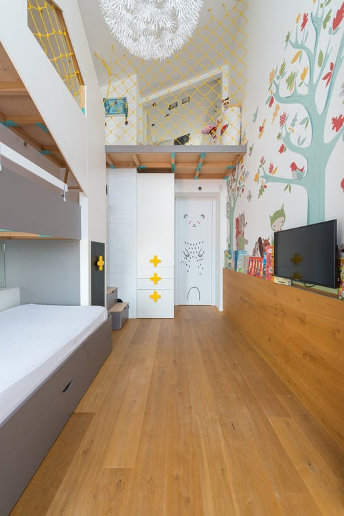 Stylish children room with bunk bed