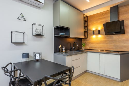 Interior of kitchen with table