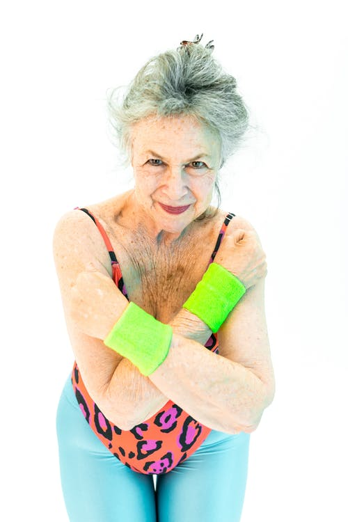 Woman With A Colorful Aerobics Wear