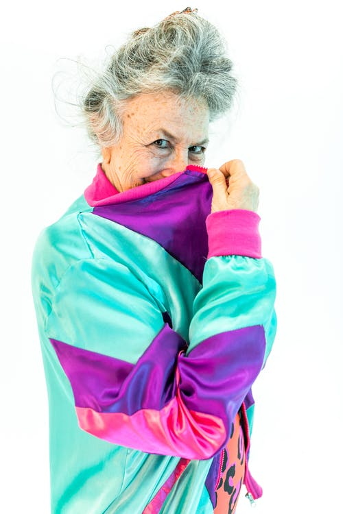 Woman in Pink and Blue Jacket