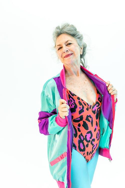 Elderly Woman in a  Leopard Print Active Wear