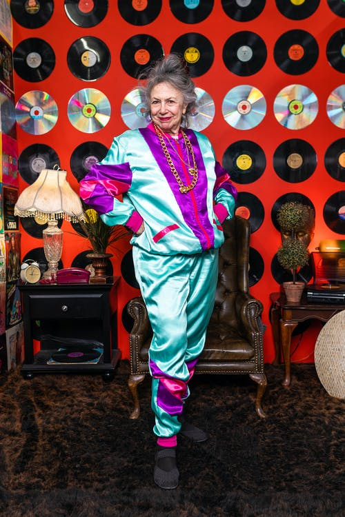 Elderly Woman Wearing A Colorful Outfit