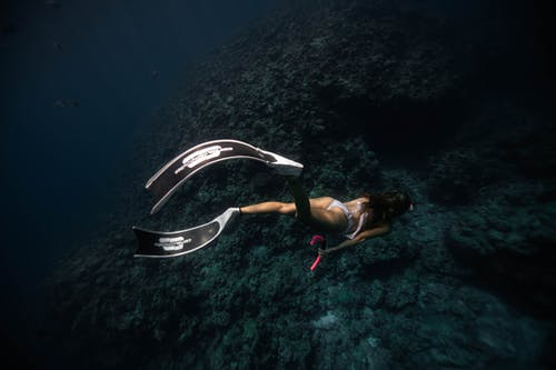 Full body of female in diving equipment and bikini discovering deep water of sea