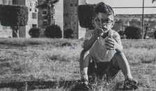 black-and-white, person, grass
