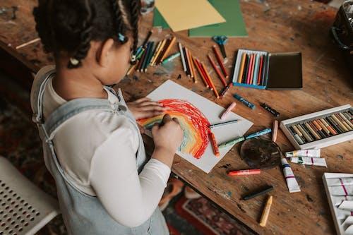 Základová fotografie zdarma na téma barevné tužky, barvy, děti