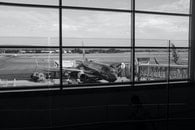 black-and-white, airport, plane