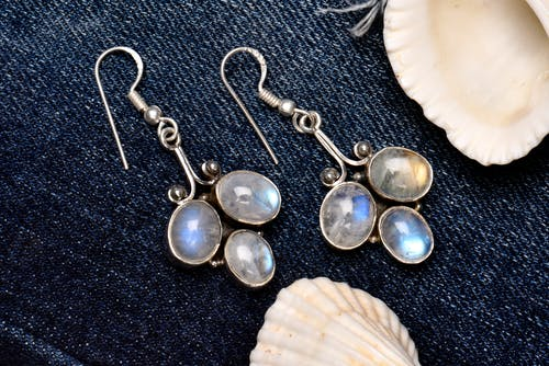 Free stock photo of background image, denim clothes, earrings