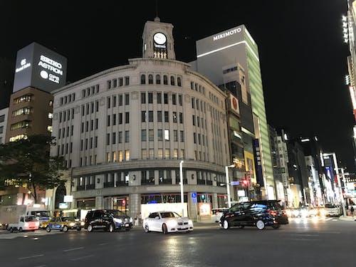 Free stock photo of building night, ginza, street