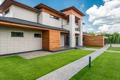 Courtyard of modern villa in sunny day