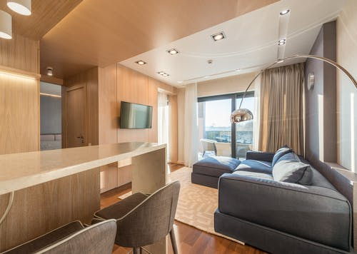 Interior of modern living room with wooden walls and counter near soft comfy sofa placed near window in daylight