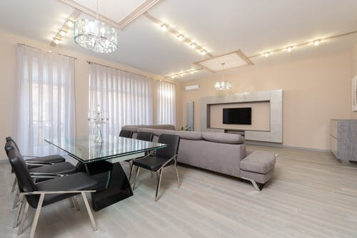 Spacious living room with couch and table