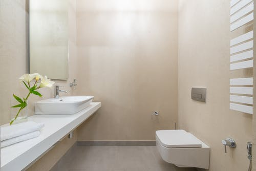 White ceramic toilet placed against wall with mirror and sink near blooming white flowers and towels in light modern bathroom