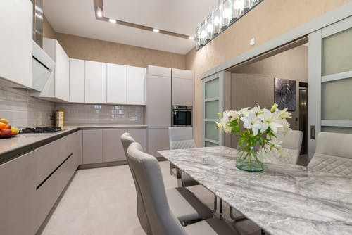 Contemporary kitchen in beige color