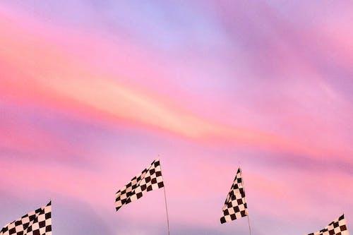 Бесплатное стоковое фото с гоночный флаг, закат, клетчатый