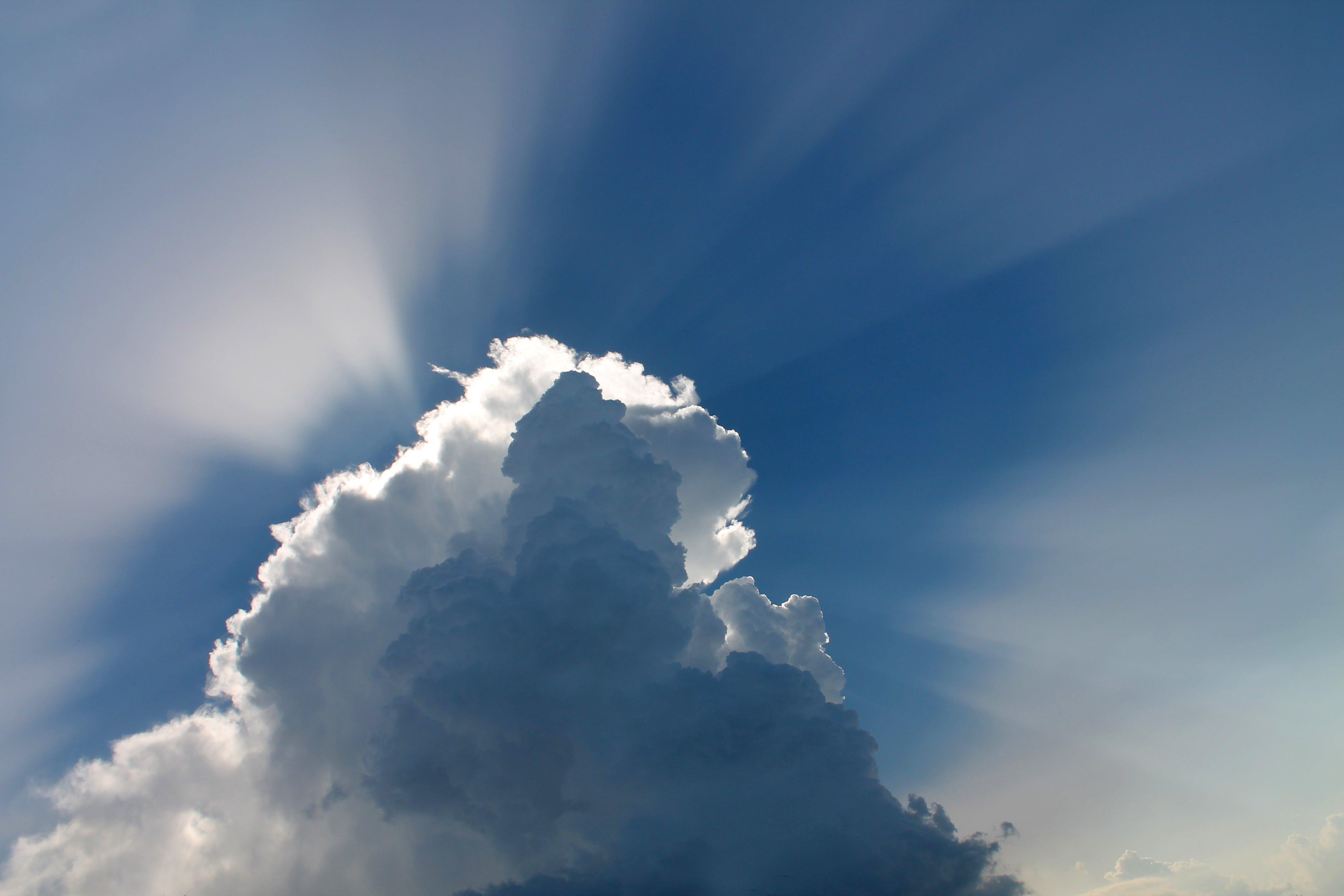 bewölkt, blauer himmel, himmel