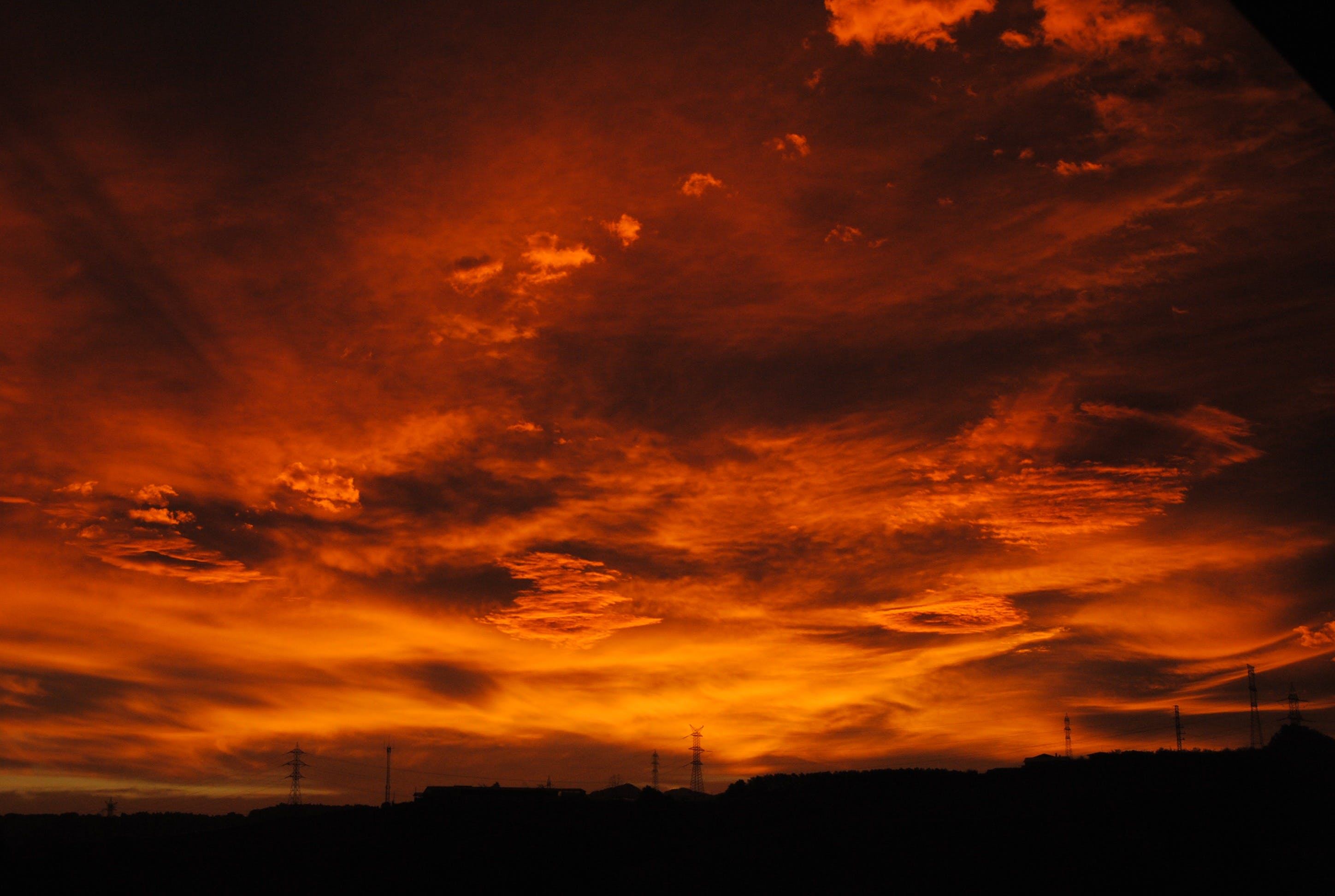 Free stock photo of sky, sunset, red, royalty free
