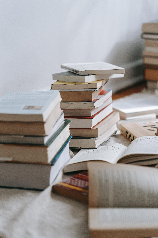 Piles of books.