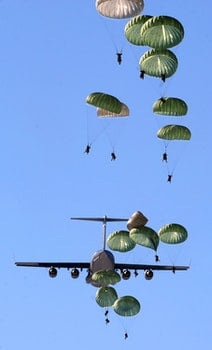 Army Paratroopers Practicing Parachute Drop from a Military Air Plane during Daytime