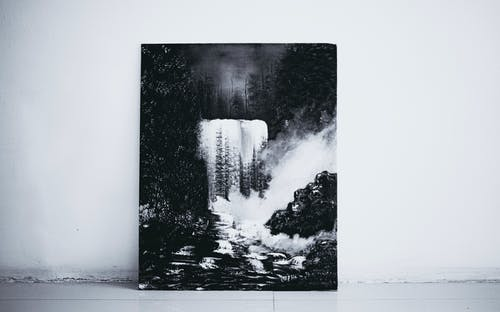Painting of nature at wall of building