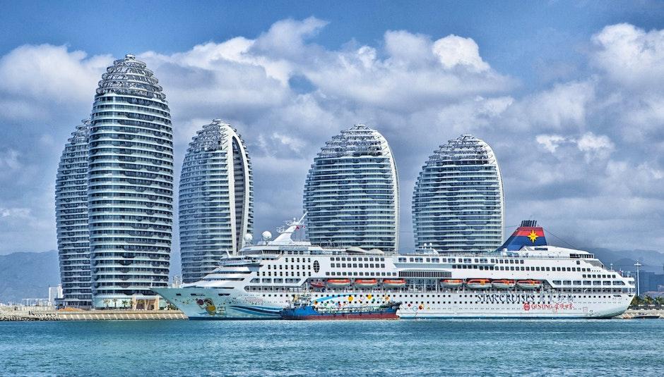 White Cruise Ship on Seashore