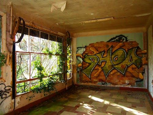 Abandoned Building with Wall Art Graffiti