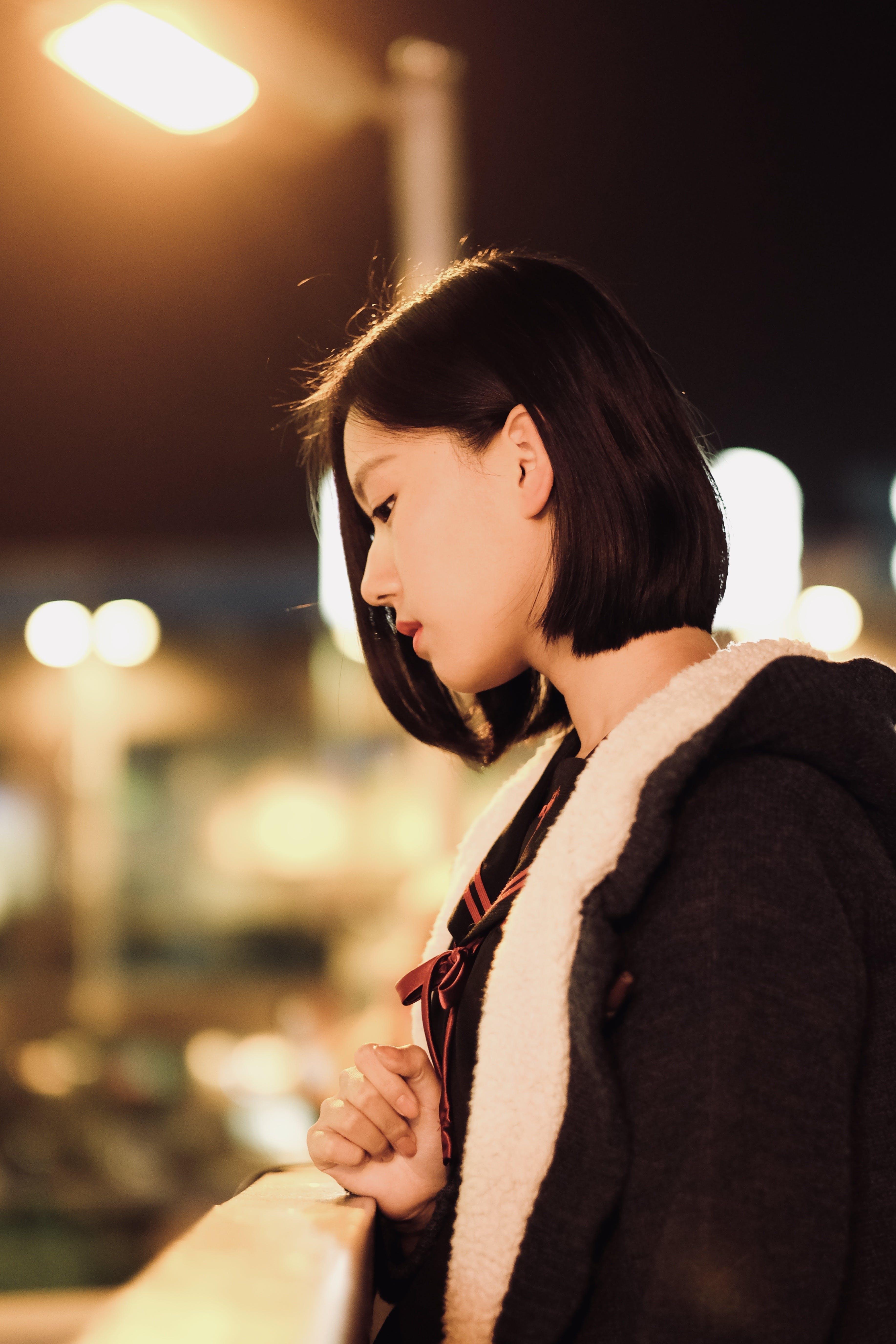 Woman Wearing Black And White Fur Coat