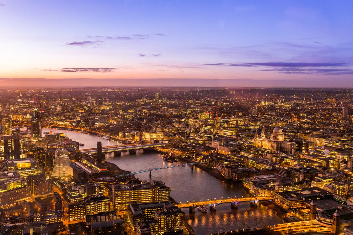 Aerial Photography of City Buildings during Golden Hour