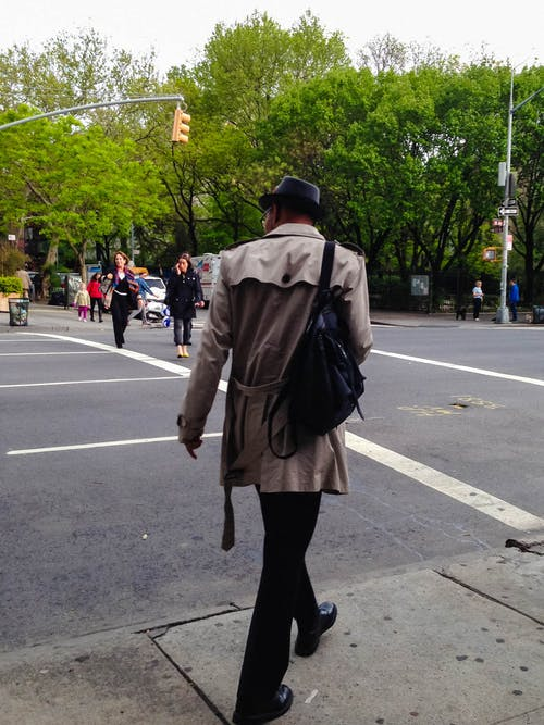 Free stock photo of man crossing the street, man in hat, new york city, nyc