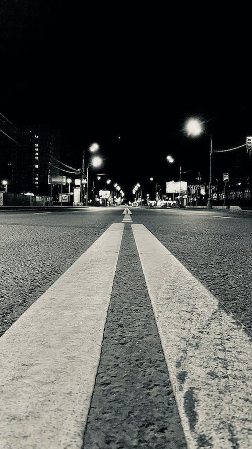 Free stock photo of cross line, night city, night road