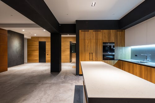 Creative design of kitchen and hall at home