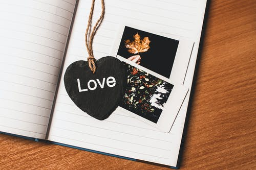 Love Printed Heart Shaped Book Mark