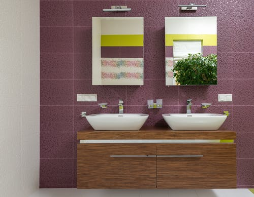 Interior of bathroom with colorful wall